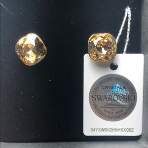 Golden Swarovski Crystal Earrings